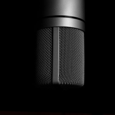 A black microphone