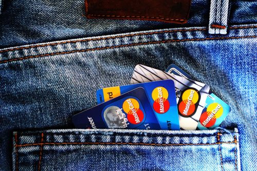 MasterCard credit cards in a pocket.