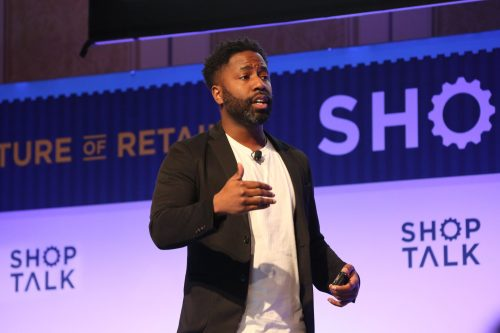 An image of LISNR CCO, Rodney Williams, on stage at ShopTalk 2019.